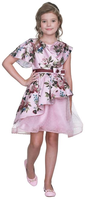 Cutecumber Baby girl Polyester Floral Princess frock - Pink