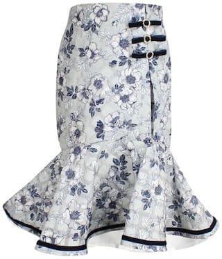 Cutecumber Girl Blended Floral Flared skirt - Blue