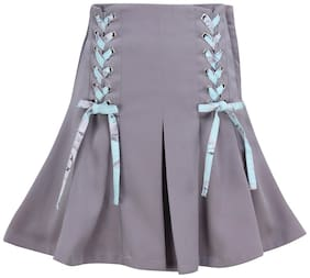 Cutecumber Girl Satin Embellished A- line skirt - Grey