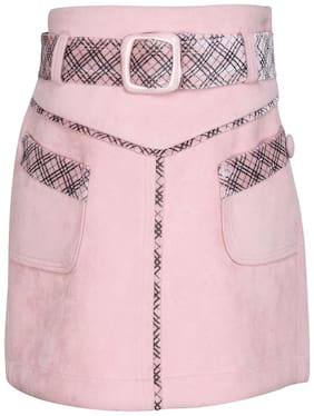 Cutecumber Girl Polyester Solid Wrap skirt - Pink