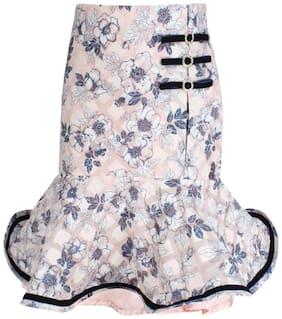 Cutecumber Girl Blended Floral Flared skirt - Pink