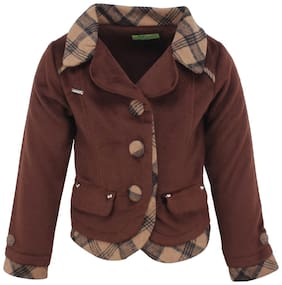 Cutecumber Girl Polyester Solid Winter jacket - Brown