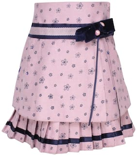 Cutecumber Girl Polyester Printed A- line skirt - Pink