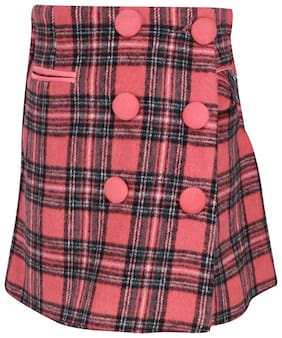 Cutecumber Girl Polyester Checked Skorts - Pink