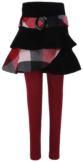Cutecumber Girl Polyester Checked A- line skirt - Maroon