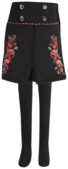 Cutecumber Girl Silk Solid Flared skirt - Black