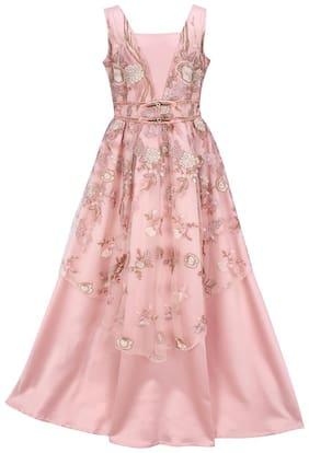 Cutecumber Girl's Satin Floral Sleeveless Gown - Pink