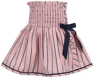 Cutecumber Girl Cotton Striped A- line skirt - Pink
