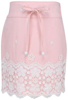Cutecumber Girl Polyester Embellished Straight skirt - Pink