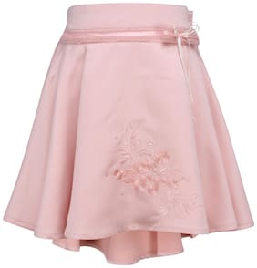 Cutecumber Girl Cotton Checked Flared skirt - Pink