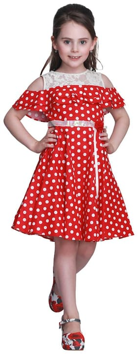 Cutecumber Baby girl Cotton Solid Princess frock - Red