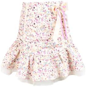 Cutecumber Girl Satin Solid A- line skirt - Cream