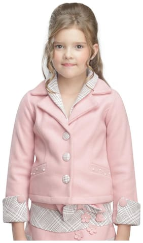 Cutecumber Girl Polyester Solid Winter jacket - Pink