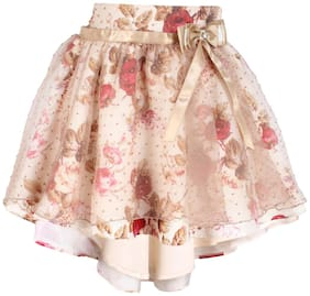 Cutecumber Girl Polyester Solid A- line skirt - Beige