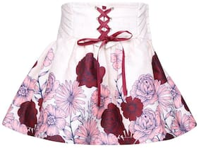 Cutecumber Girl Polyester Floral A- line skirt - Maroon