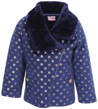 Cutecumber Girl Polyester Polka dots Winter jacket - Blue