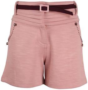 Cutecumber Girl Polyester Solid Regular shorts - Pink
