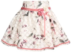 Cutecumber Girl Silk Floral Flared skirt - White