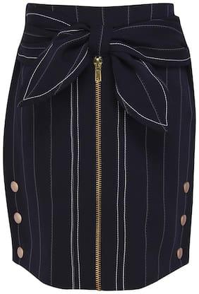 Cutecumber Girl Polyester Embellished Straight skirt - Blue