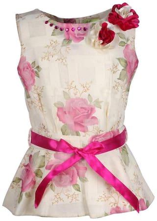Cutecumber Girl's Pink Floral Print Mesh Peplum Top