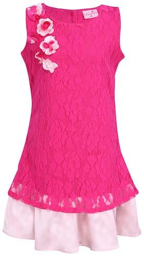 Cutecumber Pink Lace Sleeveless Knee Length Princess Frock ( Pack of 1 )