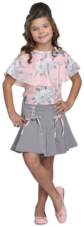 Cutecumber Girl Georgette Top & Bottom Set - Grey