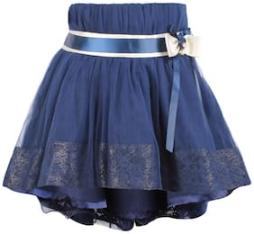 Cutecumber Girl Net Embellished A- line skirt - Blue