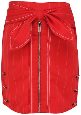 Cutecumber Girl Polyester Embellished Straight skirt - Red