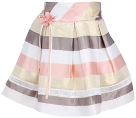 Cutecumber Girl Satin Embroidered A- line skirt - Multi