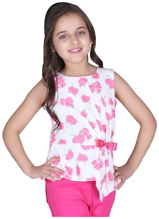 Cutecumber Girl Polyester Floral Top - Pink