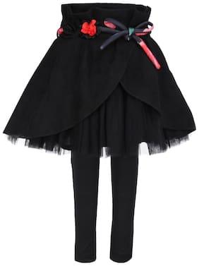 Cutecumber Girl Polyester Embellished A- line skirt - Black