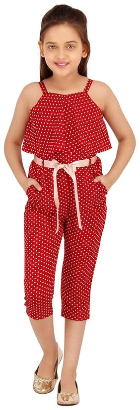 Cutecumber Polyester Polka dots Bodysuit For Girl - Maroon