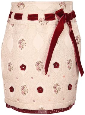 Cutecumber Girl Blended Polka dots Straight skirt - Beige
