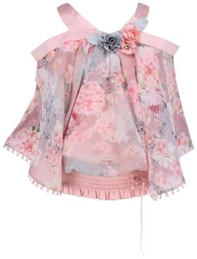 Cutecumber Girl Georgette Floral Top - Pink