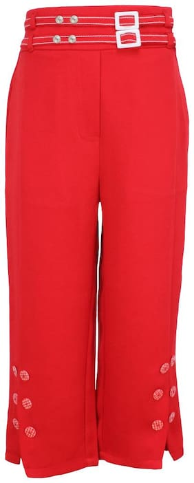Cutecumber Girl Cotton Solid Cargo shorts - Red