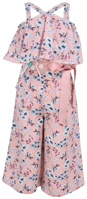 Cutecumber Georgette Floral Bodysuit For Girl - Pink