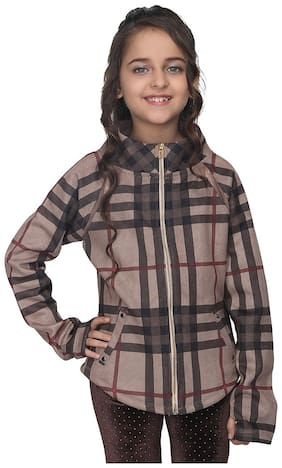 Cutecumber Girl Polyester Checked Winter jacket - Brown