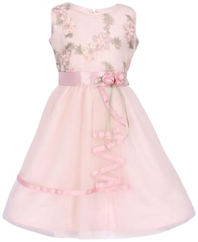 Cutecumber Pink Net Sleeveless Knee Length Princess Frock ( Pack of 1 )