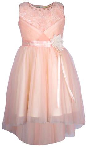 Cutecumber Baby girl Net Solid Princess frock - Pink