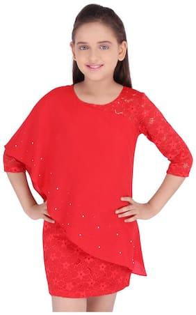 Cutecumber Baby girl Georgette Solid Princess frock - Red