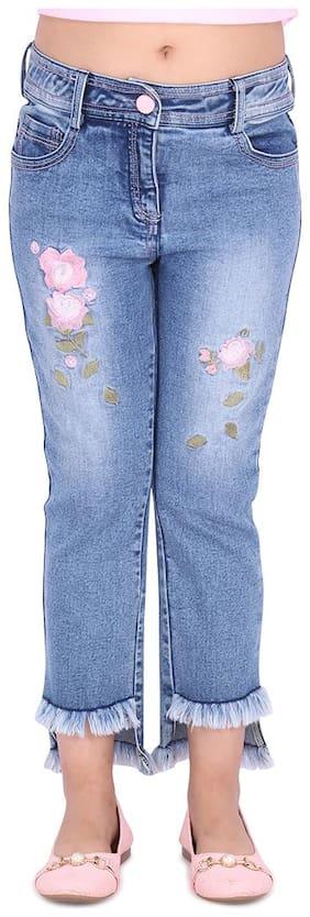 Cutecumber Partywear Denim Jeans Girl Blue