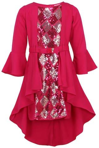 Cutecumber Princess Frock Knee Length Pink Embellished Knee Length Girl