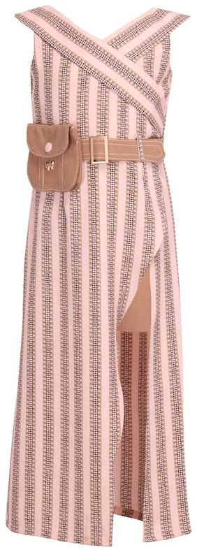 Cutecumber Pink Georgette Sleeveless Maxi Princess Frock ( Pack of 1 )