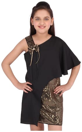 Cutecumber Black Georgette Sleeveless Knee Length Princess Frock ( Pack of 1 )