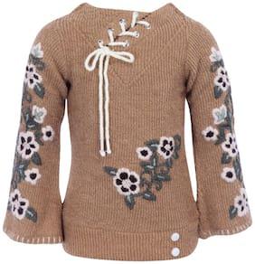 Cutecumber Partywear Girls Sweater Brown