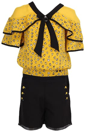 Cutecumber Girl Georgette Top & Bottom Set - Yellow & Black