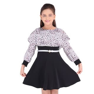 Cutecumber Black Georgette Full Sleeves Knee Length Princess Frock ( Pack of 1 )