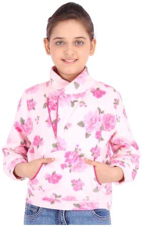 Cutecumber Girl Polyester Floral Sweatshirt - Pink