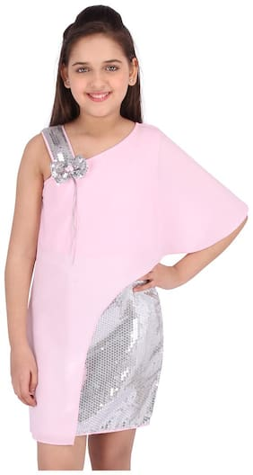 Cutecumber Pink Georgette Sleeveless Knee Length Princess Frock ( Pack of 1 )
