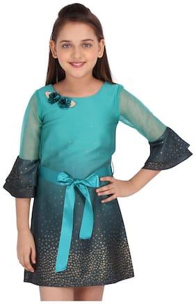 Cutecumber Baby girl Georgette Printed Princess frock - Green
